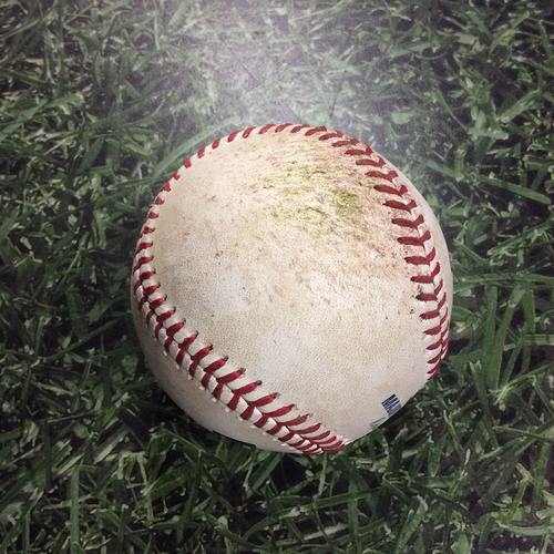 Photo of Game-Used Baseball CHC@MIL 09/05/18 - Jhoulys Chacin - Javier Baez: Ball