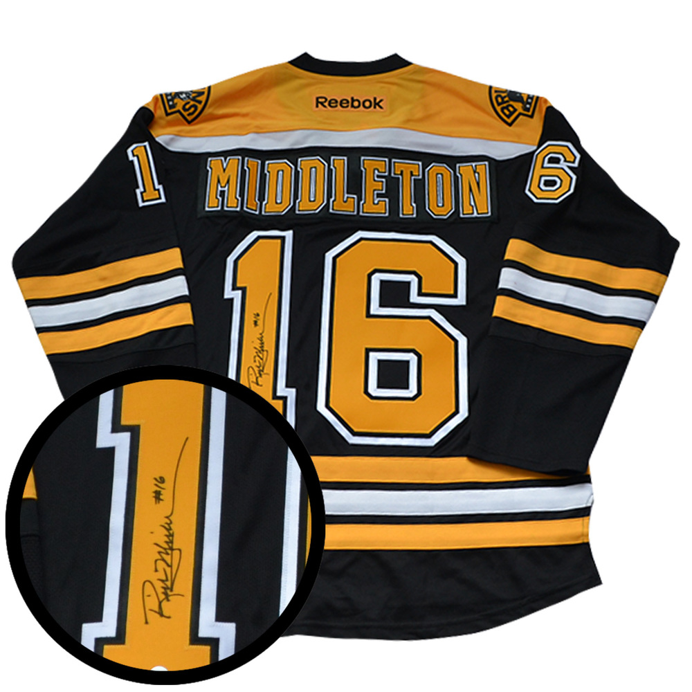 Rick Middleton Signed Jersey Bruins Replica Black 2016-2017 Reebok
