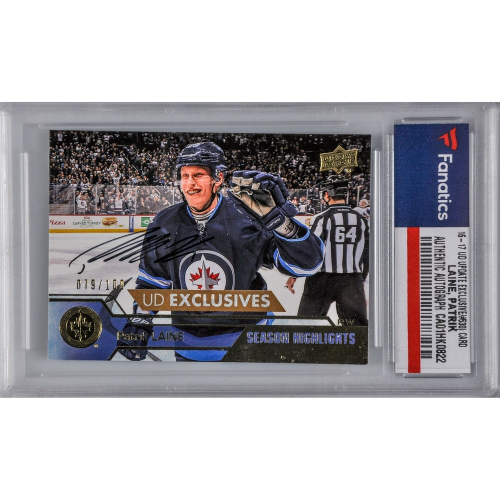 Patrik Laine Winnipeg Jets Autographed 2016-17 Upper Deck Update Hockey UD Exclusives Season Highlights #530 Card - #79 of a Limited Edition of 100