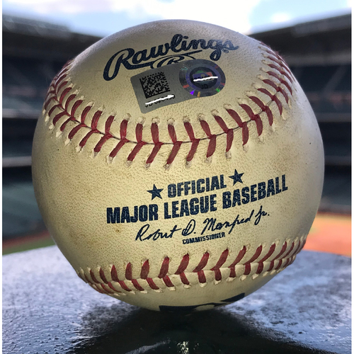 Photo of Game-Used Baseball: 6/7/19 Astros vs Orioles, Gerrit Cole to Keon Broxton (Strikeout) and Chris Davis (Foul)