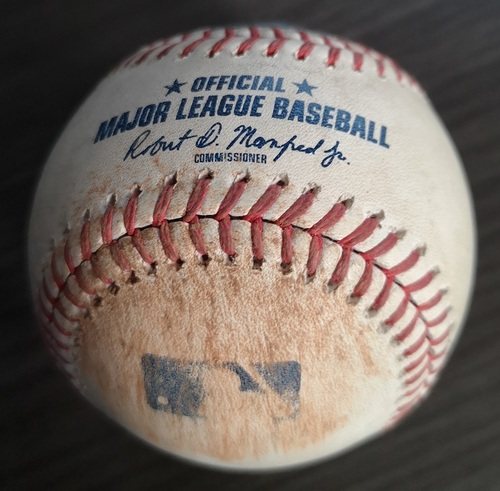 Photo of Authenticated Game Used Baseball: Single by Nathaniel Lowe against Joe Biagini (Jul 26, 19 vs TBR). Top 8. Also used for Biagini Strikeout of Travis d'Arnaud.