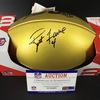 NFL - Packers Brett Favre Signed Gold Football with 100 Seasons Logo