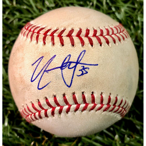 Photo of Rays Baseball Foundation: Game Used Autographed Baseball - Nate Lowe MLB Debut - April 29, 2019 at KC