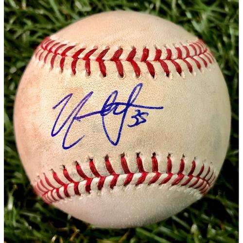 Photo of Rays Baseball Foundation: Game Used Autographed Baseball - Nate Lowe MLB Debut - April 29, 2019 at KC