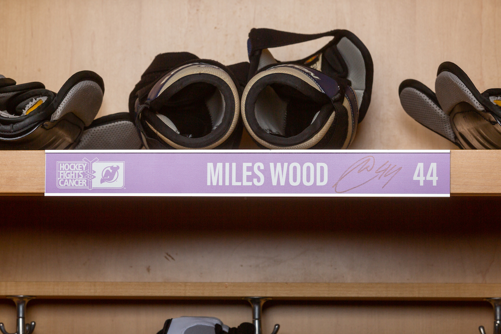 Wood 2019 Hockey Fights Cancer Locker Room Nameplate