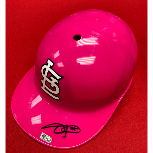 Photo of Dexter Fowler Autographed Replica Pink Coaches Helmet