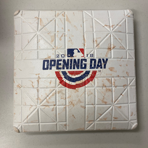 Photo of 2018 Game Used Opening Day Base used on 4/3/18 Home Opening Day vs. SEA - 3rd Base from Innings 4-6