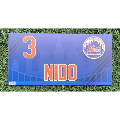 Photo of Tomas Nido #3 - Game Used Locker Nameplate - 2019 Regular Season Mets Home Opener - Mets vs. Nationals - 4/4/19