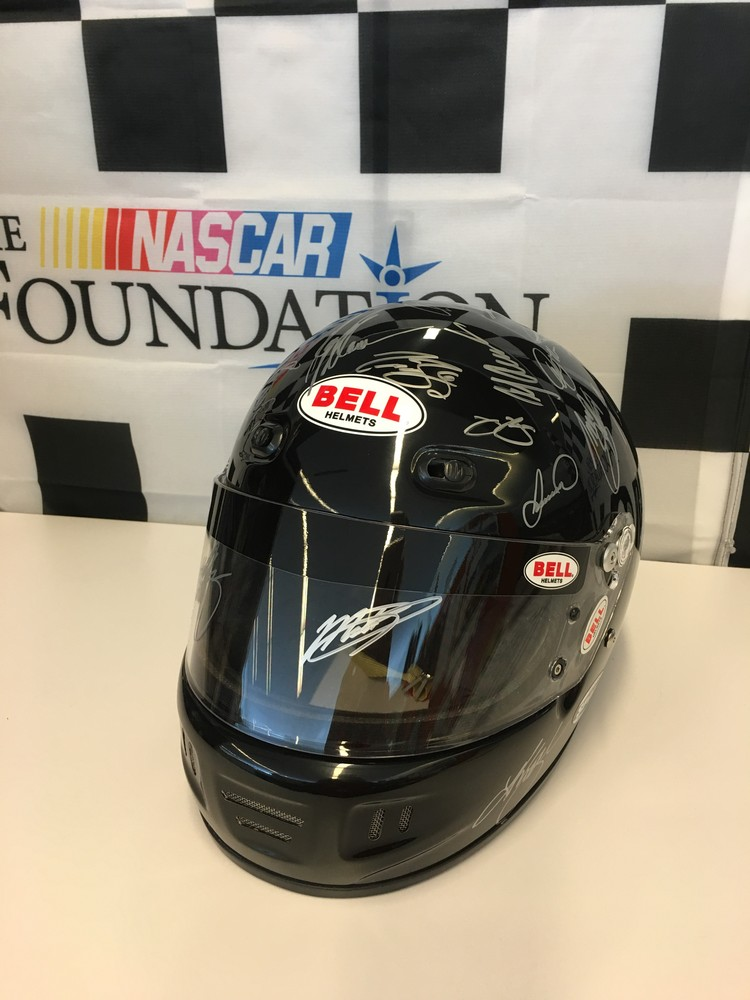 Full Size Bell Helmet Autographed by the Starting Line-up of the Go Bowling 400 5/5/2016