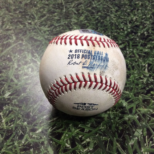 Photo of Game-Used Baseball NLDS Game 1 COL@MIL 10/04/18 - Jeremy Jeffress - Nolan Arenado: Game-Tying, RBI Sacrifice Fly