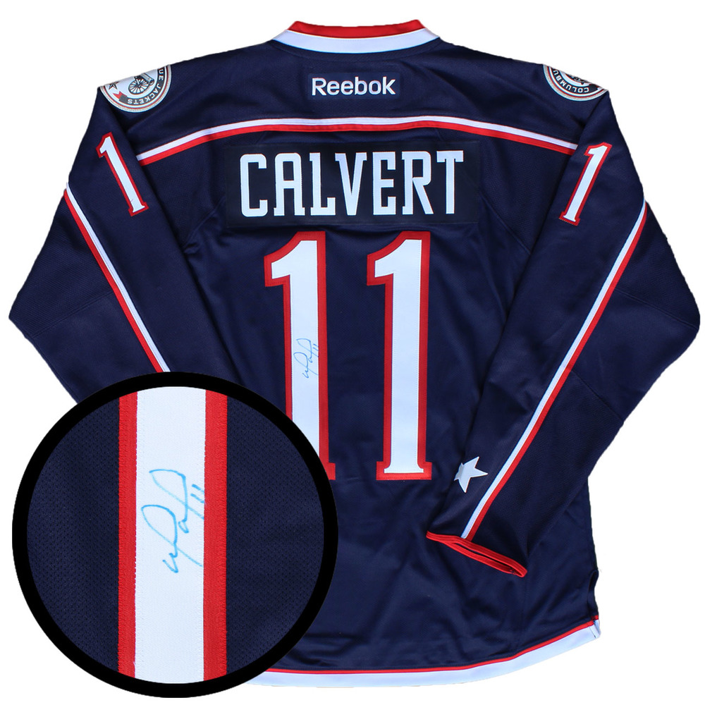 Matt Calvert Signed Jersey Blue Jackets Replica Blue 2016-2017 Reebok