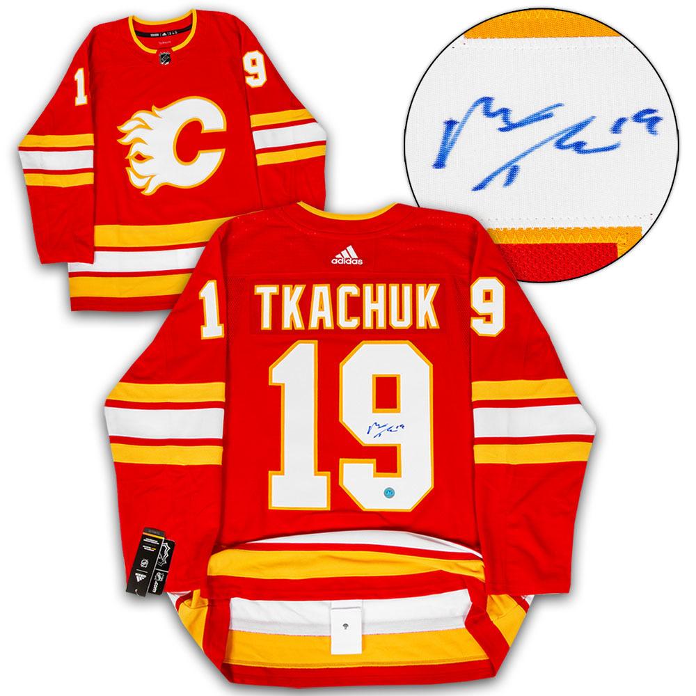 Matthew Tkachuk Calgary Flames Autographed Alternate Adidas Authentic Hockey Jersey