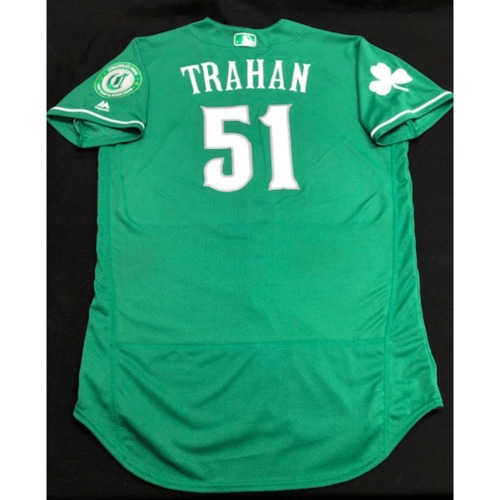 Photo of Blake Trahan -- Game-Used Jersey -- 2019 St. Patrick's Day