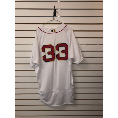 Photo of Jason Varitek Game-Used April 9, 2019 Home Gold Trimmed Jersey