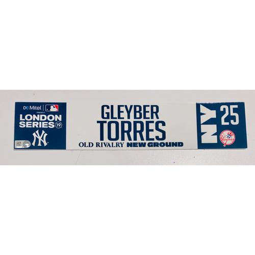 Photo of 2019 London Series - Game Used Locker Tag - Gleyber Torres, New York Yankees vs Boston Red Sox - 6/30/2019