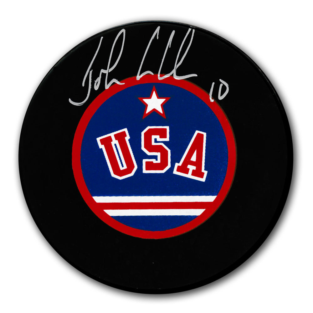 John LeClair Team USA United States Autographed Puck