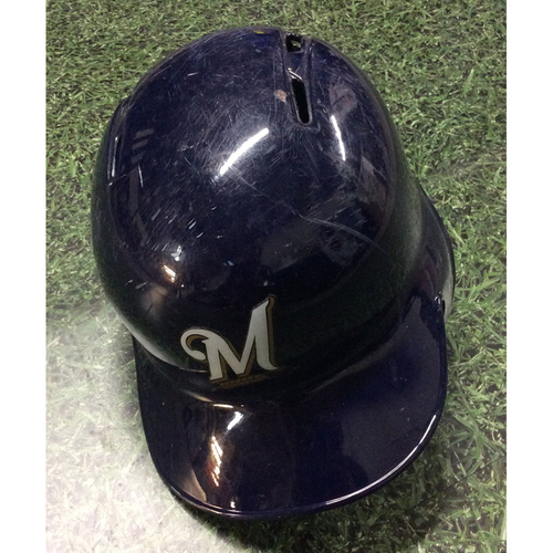 Photo of Jesus Aguilar 2018 Game-Used Batting Helmet (9/17 - Yelich 2nd Cycle Game; 9/19 - First 100-RBI Season; 9/26 - Postseason-Clinching Game)