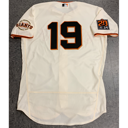 Photo of 2020 Game Used Home Jersey worn by #19 Gabe Kapler on 7/28 Home Opening Day vs. San Diego Padres - 1st Home Game as San Francisco Giants Manager - Size 46
