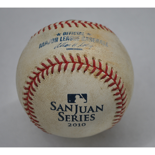 Photo of Game-Used Baseball - 2010 San Juan Series - 6/29/2010 - New York Mets vs. Florida Marlins - 5th Inning - Pitcher: Hisanori Takahashi, Batter: Jorge Cantu - Foul