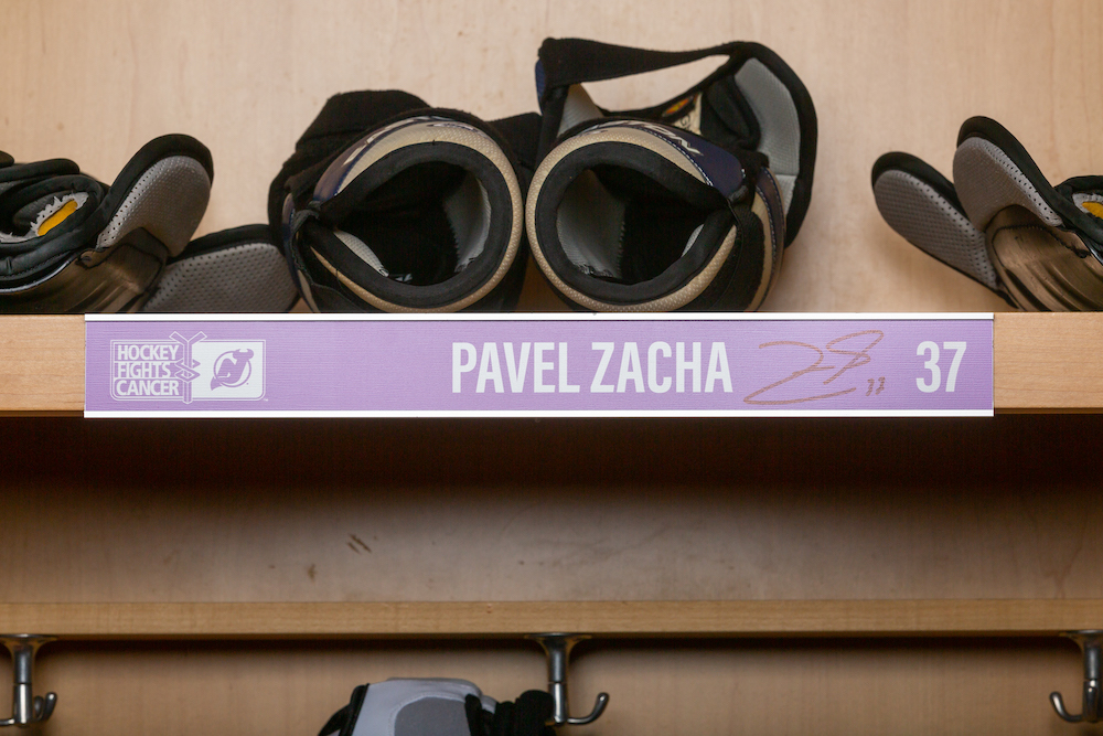 Zacha 2019 Hockey Fights Cancer Locker Room Nameplate