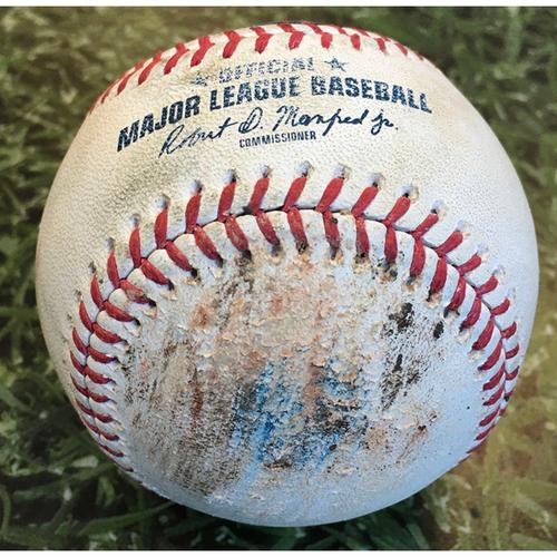 Game-Used Baseball MIN@MIL 08/12/20 - Kenta Maeda - Omar Narvaez: Foul