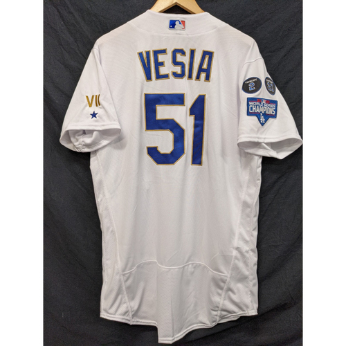 Photo of Alex Vesia Team-Issued Gold Trim Re-Opening Day Jersey - 6/15/21