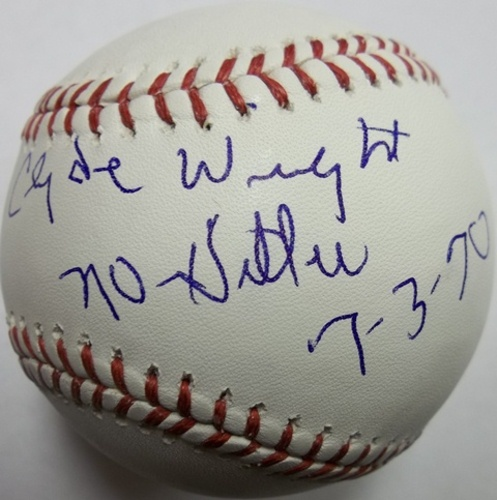 "Photo of Clyde Wright ""No-Hitter"" Autographed Baseball"