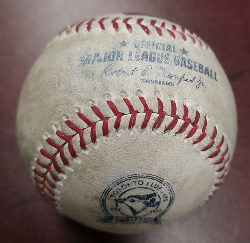 Photo of Authenticated Game Used Baseball - Ball in the Dirt to David Ortiz against Brett Cecil (April 8, 2016: Blue Jays Home Opener vs Boston Red Sox). Top 7. Ortiz's Final MLB Season.