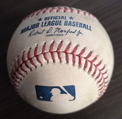Photo of Authenticated Game Used Baseball: Strikeout by Aaron Sanchez against Ji-Man Choi (Jul 28, 19 vs TBR). Top 1.