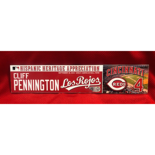 Photo of Cliff Pennington -- Team-Issued Los Rojos Locker Tag -- 2019 Season
