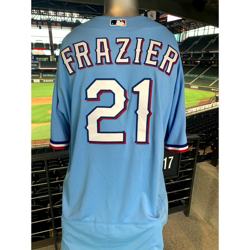 Photo of Todd Frazier Game-Used Powder Blue Jersey - 1st Time Worn (7/26/20)