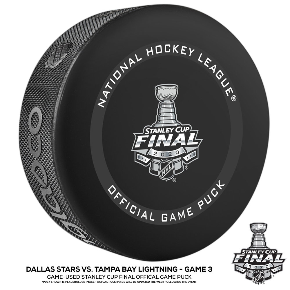 Dallas Stars vs. Tampa Bay Lightning Game-Used Puck from Game 3 of the 2020 Stanley Cup Final on September 23, 2020