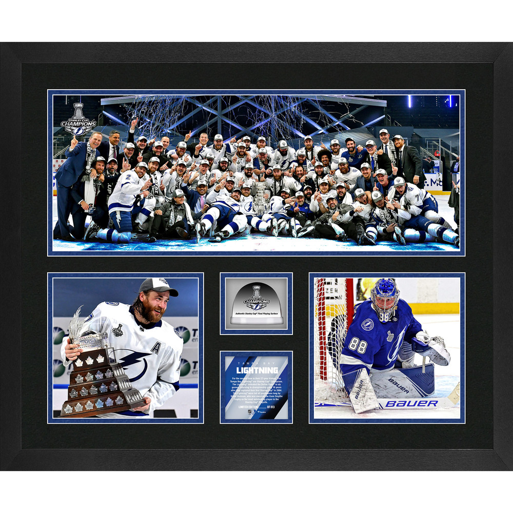 Tampa Bay Lightning 2020 Stanley Cup Champions Framed 20'' x 24'' 3-Photograph Collage with Game-Used Ice from the 2020 Stanley Cup Final - LE#1 of 813