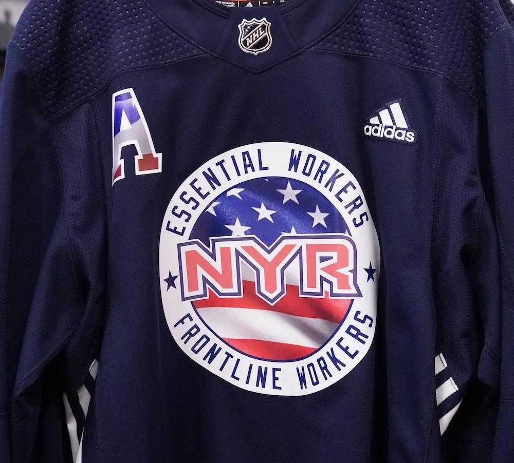 Autographed Essential Workers Night Warm-Up Jersey: #8 Jacob Trouba - New York Rangers