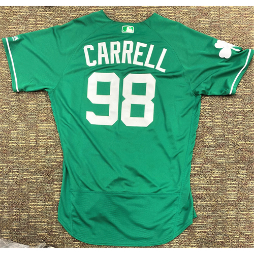 Photo of Jeremy Carrell #98 Detroit Tigers Team-Issued 2019 St. Patrick's Day Jersey (MLB AUTHENTICATED)