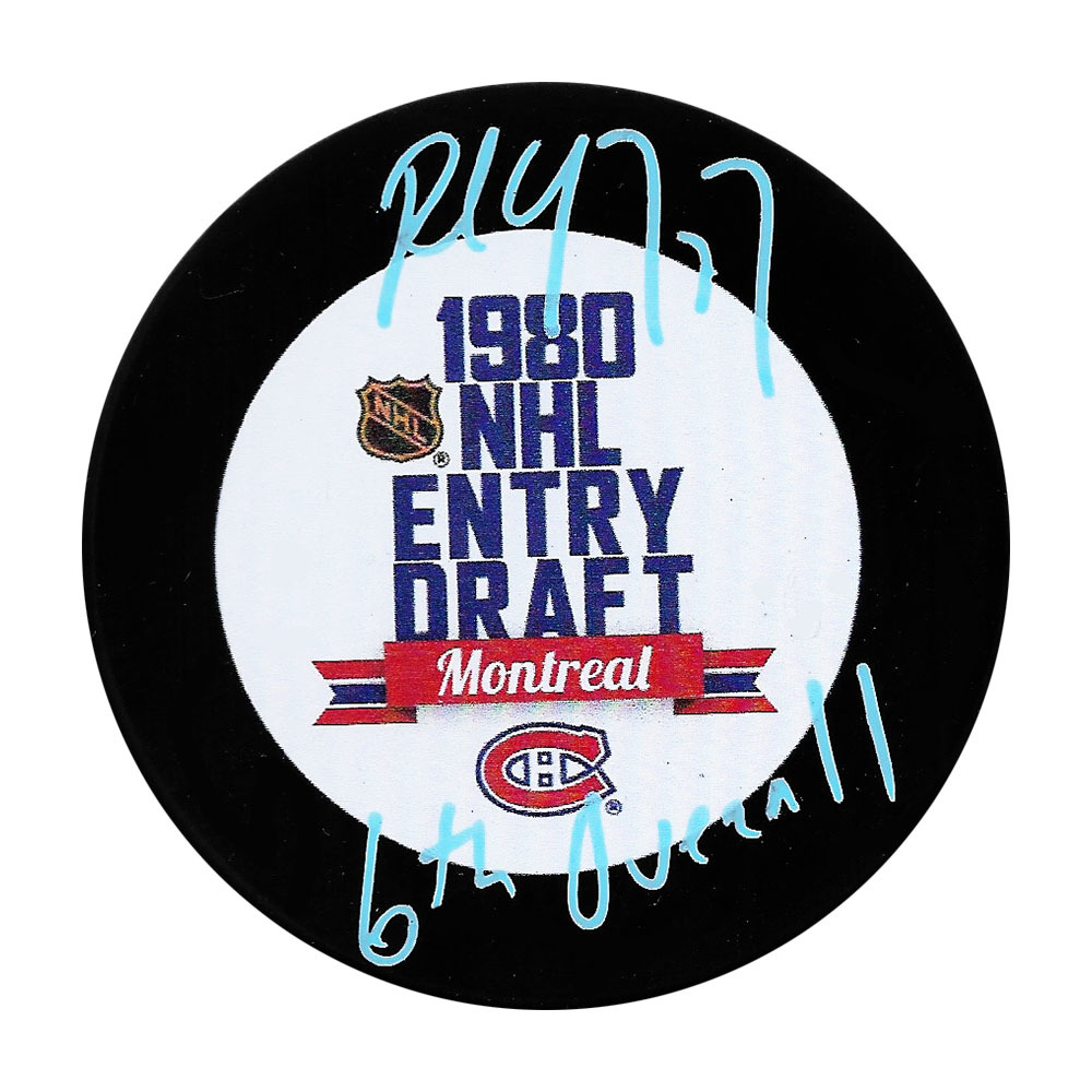 Paul Coffey Autographed 1980 NHL Entry  Draft Puck w/6TH OVERALL Inscription