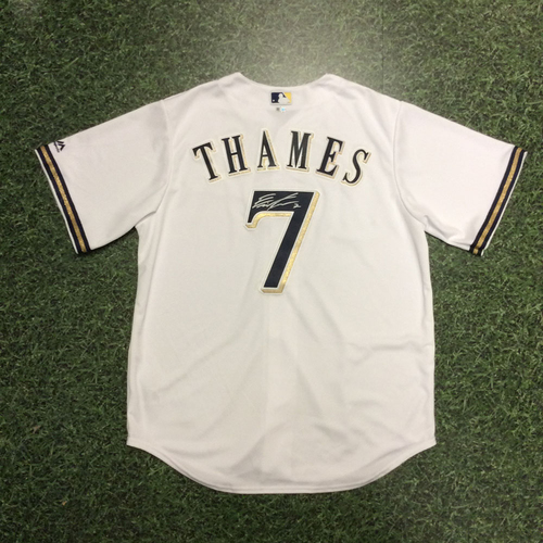 Eric Thames Autographed Home White Replica Jersey