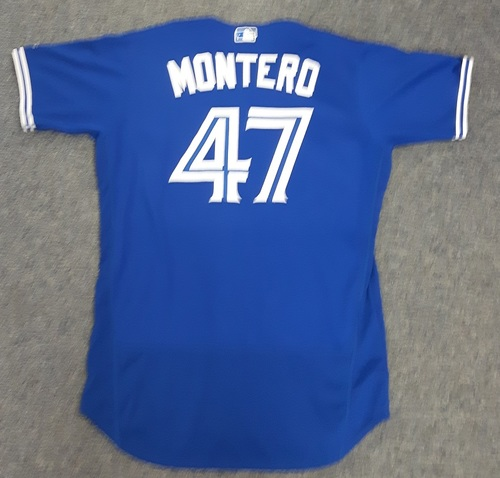 Photo of Authenticated Game Used Jersey - #47 Miguel Montero. July 29, 2017 - 1-for-2 with 1 HR, 2 Runs, 2 RBIs and 2 Walks. 1st HR as a Blue Jay. Size 46.
