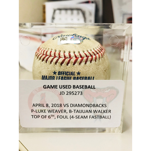 Photo of Torey Lovullo 100th Win Game-Used Baseball (Foul Ball) - 4/8/18