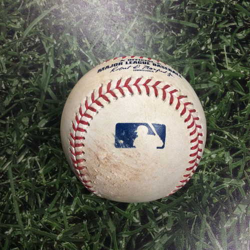 Photo of Game-Used Baseball COL@MIL 08/05/18 - Corbin Burnes - Nolan Arenado: Single