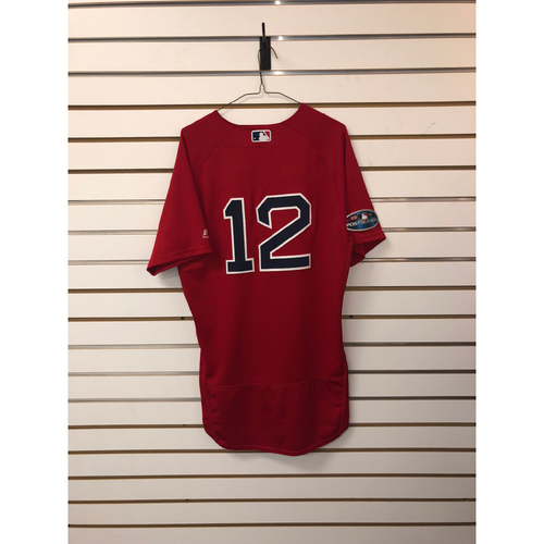 Photo of Brock Holt Game-Used 2018 ALDS Games 1 & 2 Home Alternate Jersey