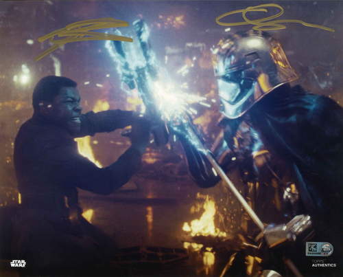 Gwendoline Christie and John Boyega As Captain Phasma and Finn 8X10 AUTOGRAPHED IN 'Gold' INK PHOTO