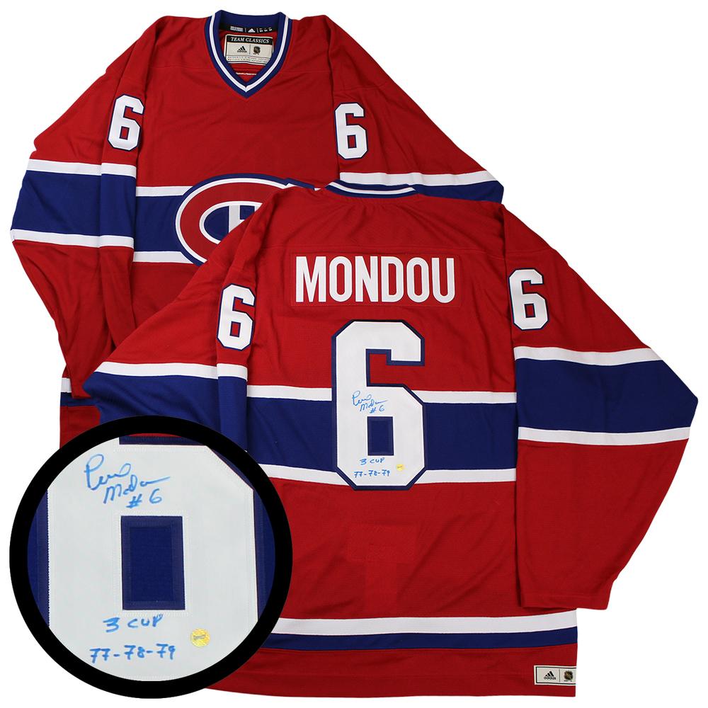 Pierre Mondou Signed Jersey Canadiens Pro Red Adidas Classics Insc