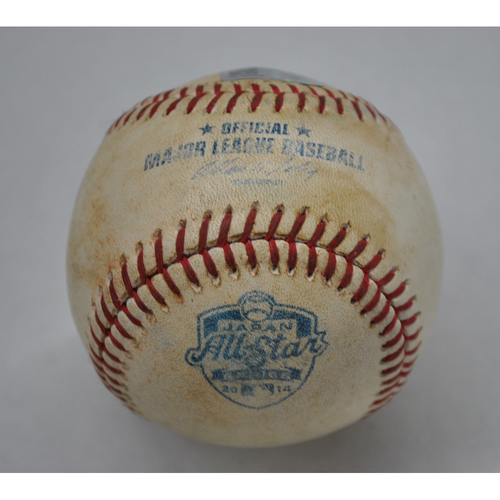 Photo of Game-Used Baseball - 2014 Japan All-Star Series Game 1 - 11/12/2014 - Top 1 - Pitcher: Kenta Maeda, Batter: Yasiel Puig - Foul