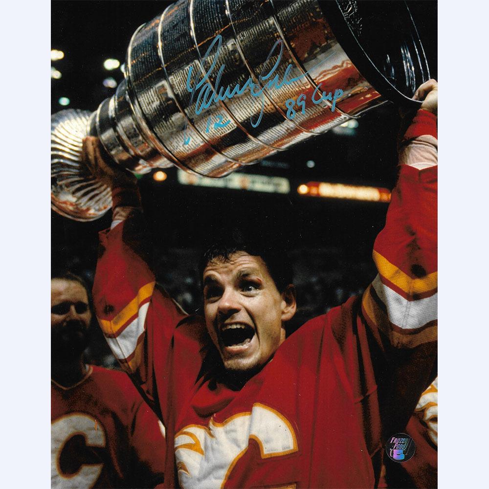 Hakan Loob Autographed Calgary Flames 8X10 Photo w/89 CUP Inscription