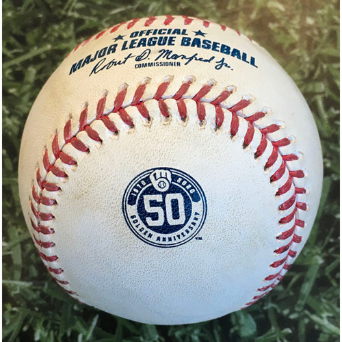 Photo of Game-Used Baseball CIN@MIL 08/27/20 (Game 1 of Doubleheader) - Sonny Gray - Christian Yelich: Foul