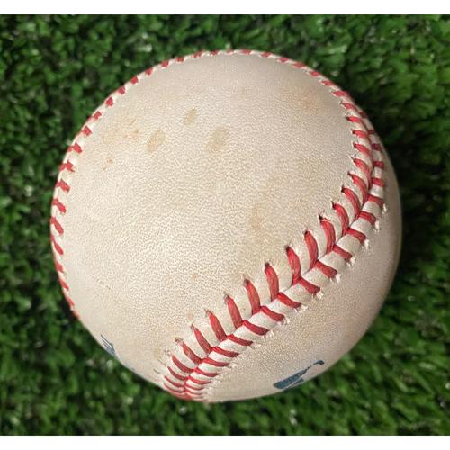 Photo of Ozzie Albies Hit Single Baseball off Alex Vesia - 10/16/21 NLCS Game 1
