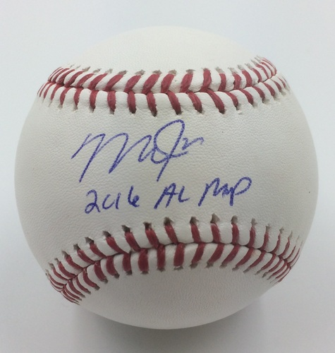 "Photo of Mike Trout Autographed ""2016 AL MVP"" Baseball"