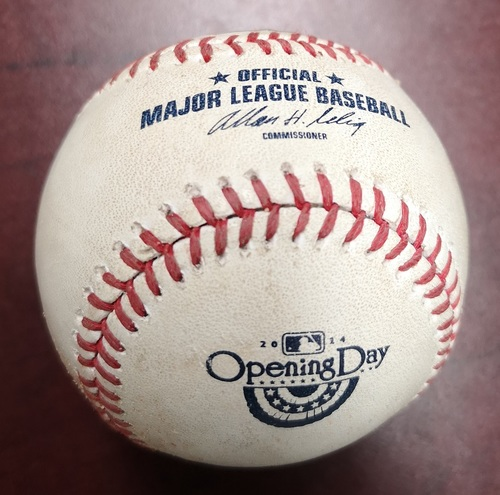 Photo of Authenticated Game Used Baseball - Pitch in the Dirt to Ichiro Suzuki by Dustin McGowan (April 4, 2014: Blue Jays Home Opener and MLB Debut for Masahiro Tanaka/1st MLB Win vs New York Yankees). Top 3.