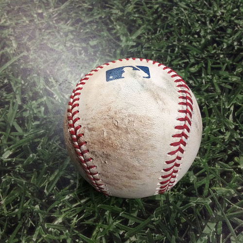 Photo of Game-Used Baseball ATL@MIL 07/05/18 - Jhoulys Chacin - Ronald Acuna: Strike